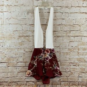 Zaful Ladder Low Cut Halter Romper Red Floral NWT